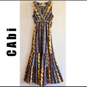 CAbi High Waisted Multicolor Tiered Maxi Dress